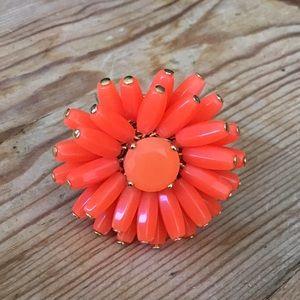 Kate Spade Gold & Orange Beaded Flower Ring